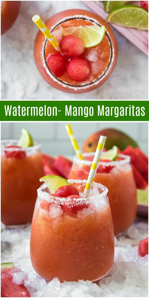 pinterest collage image for watermelon mango margaritas