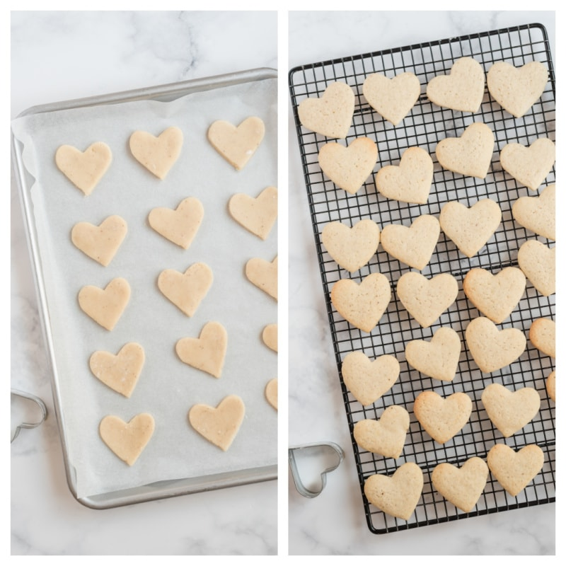 heart sugar cookies on baking sheet and baked on cooling rack