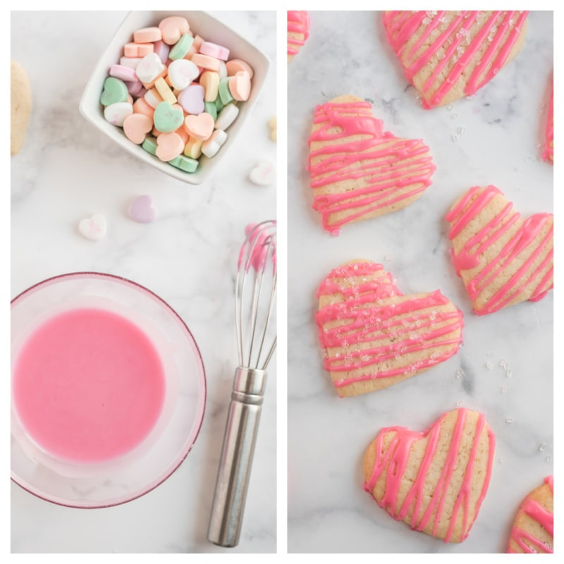 pink glaze and drizzle on heart sugar cookies