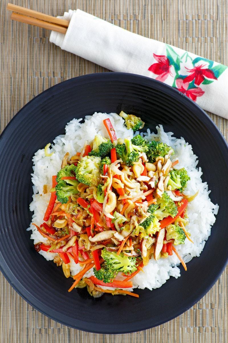 Asian Vegetable Stir Fry served over rice