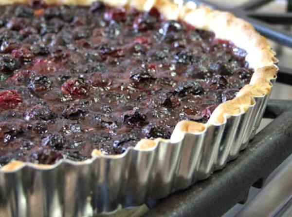Blueberry Raspberry Tart - recipe from RecipeGirl.com