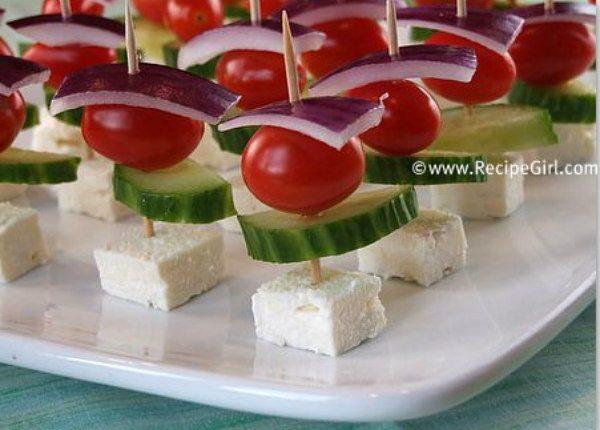 Easy Greek Appetizer Skewers - recipe from RecipeGirl.com