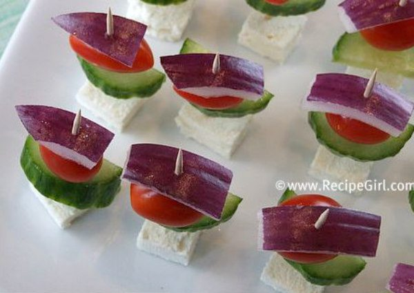 Easy Greek Appetizer Skewers - recipe from RecipeGirl.com
