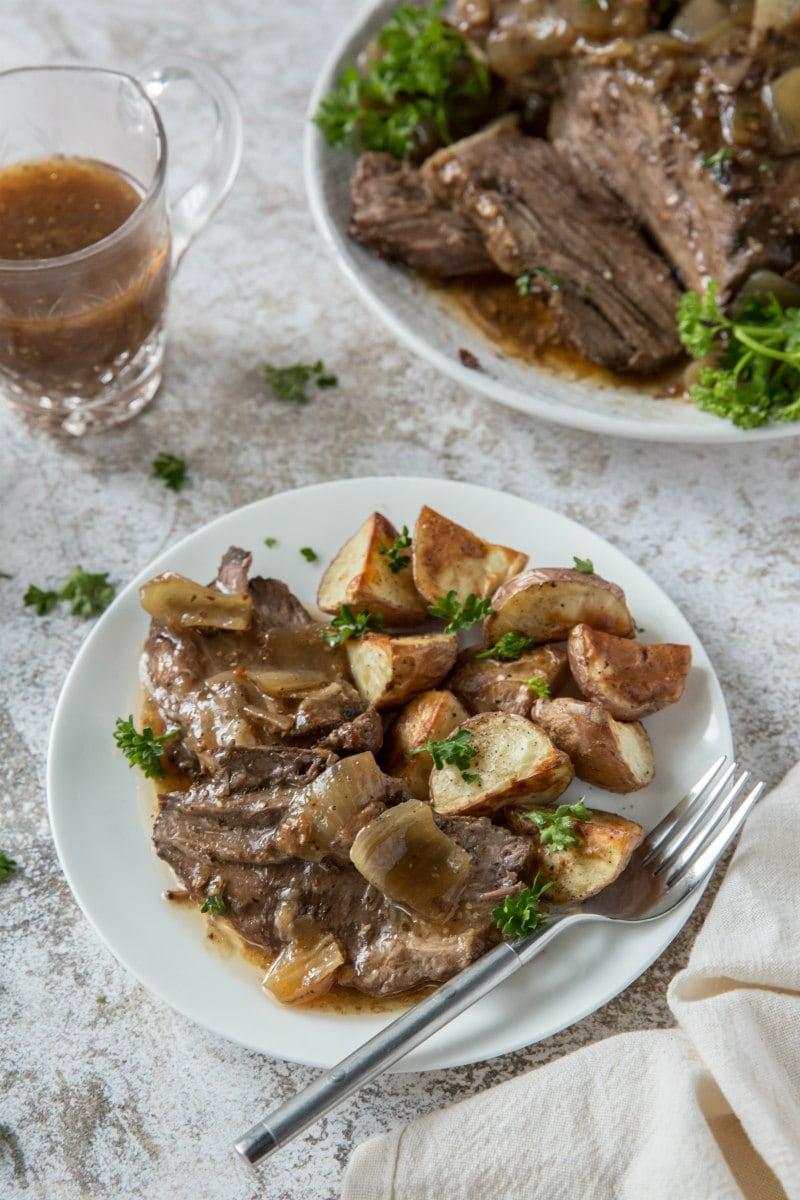 serving Black Forest Pot Roast with Potatoes
