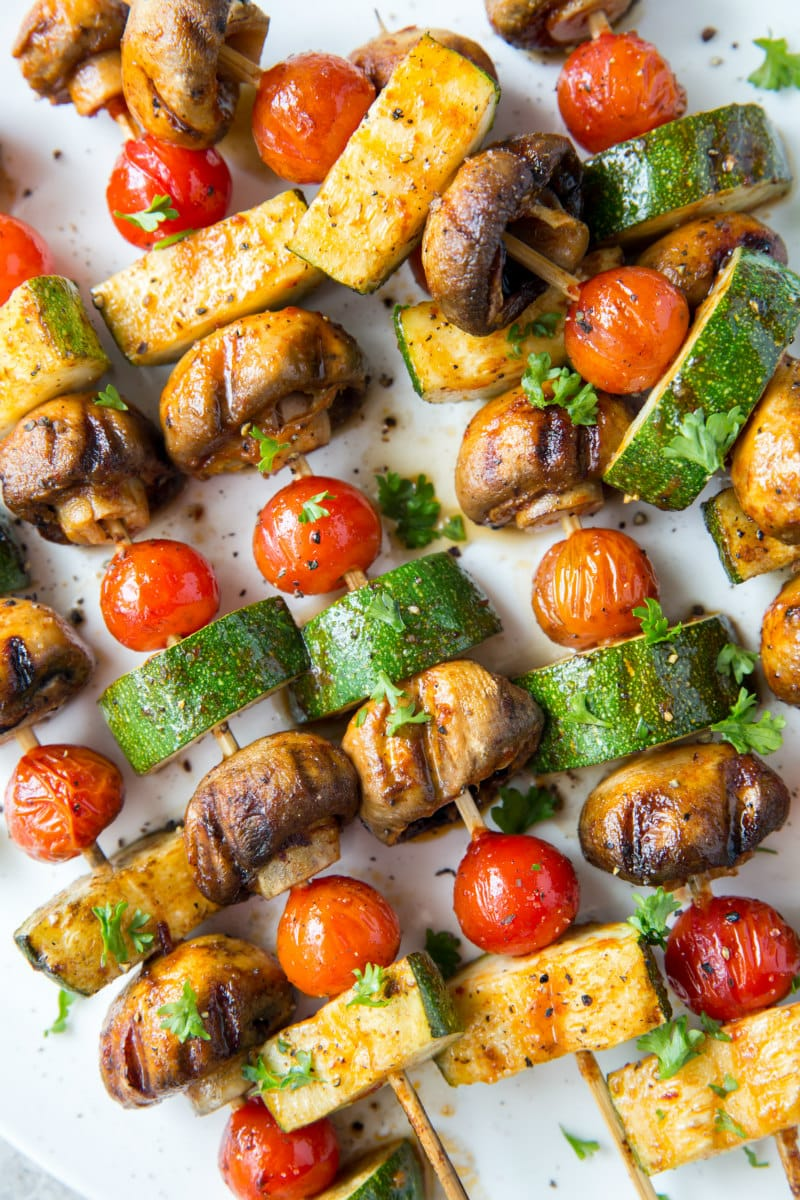 close up of chipotle glazed vegetable kabobs