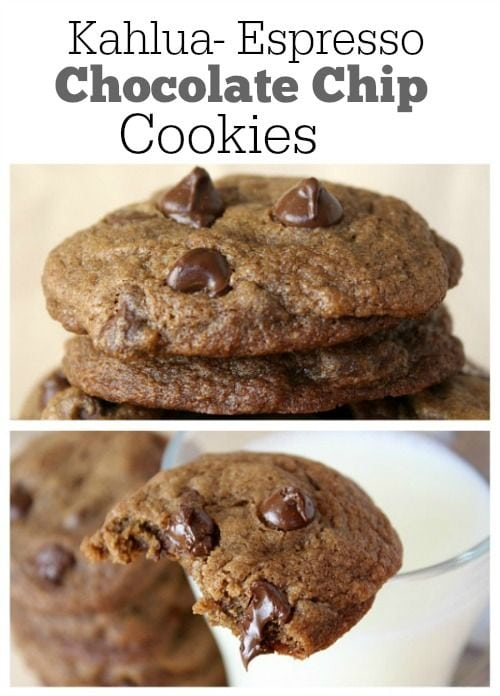 Pinterest collage image for Kahlua Espresso Chocolate Chip Cookies