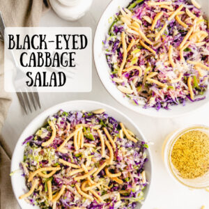 pinterest image for black eyed cabbage salad