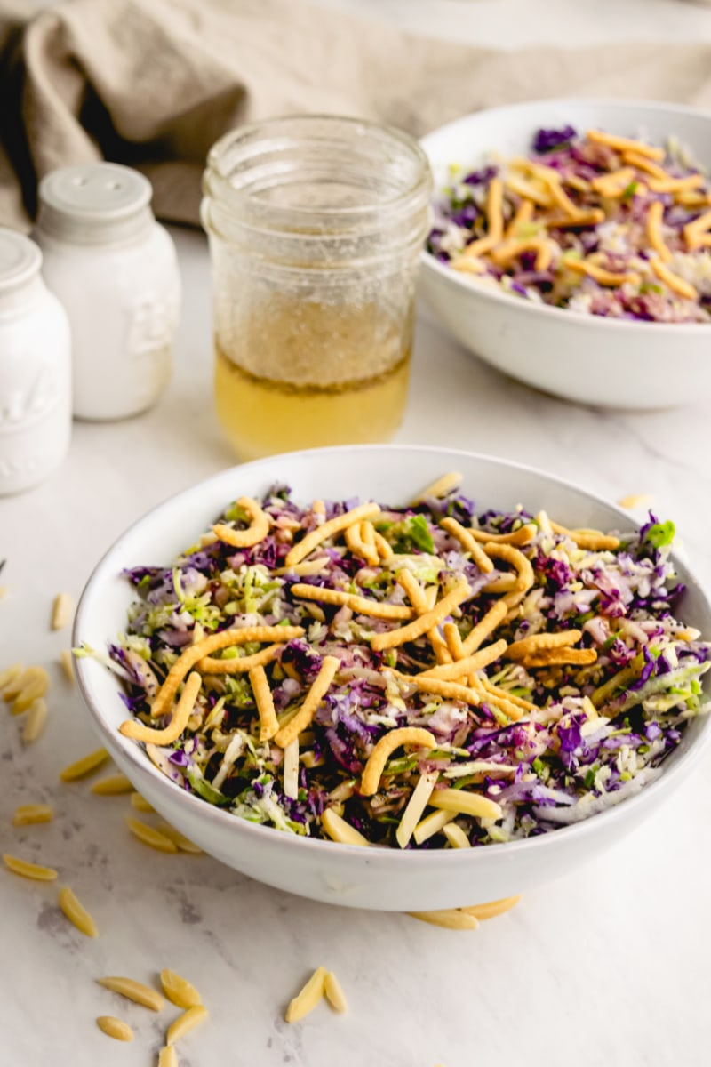 black eyed cabbage salad in a white bowl