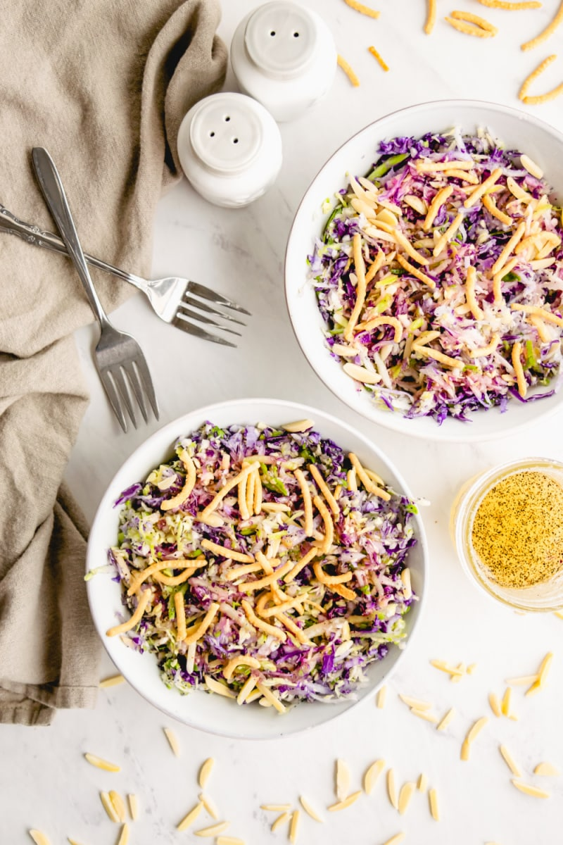two bowls of cabbage salad