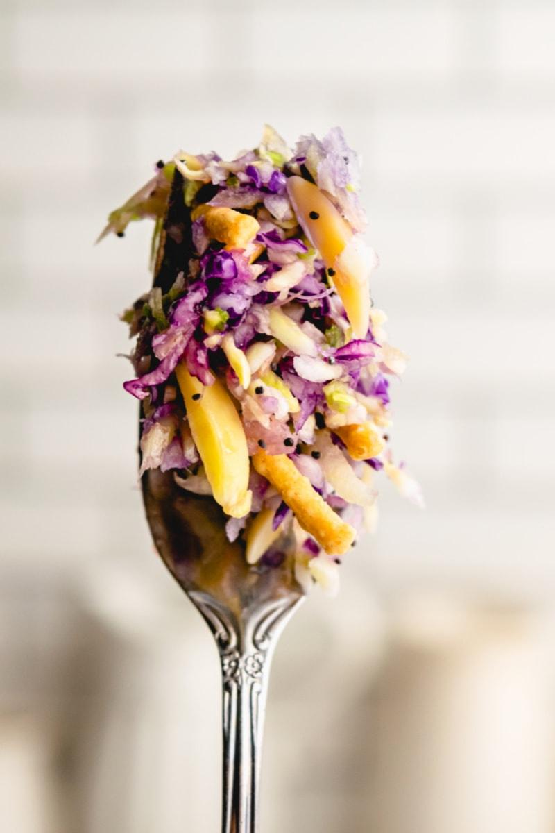 forkful of cabbage salad