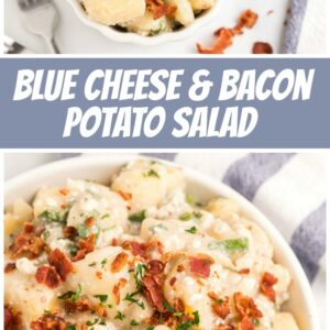 Pinterest Collage Image for Blue Cheese and Bacon Potato Salad
