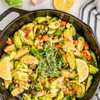 lemon brussels sprouts with pancetta and thyme