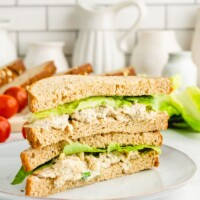 chicken salad sandwich cut in half and stacked