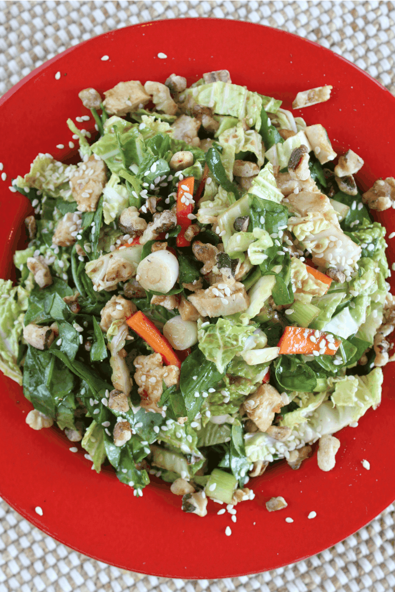 Serving of Chinese Chicken and Walnut Salad