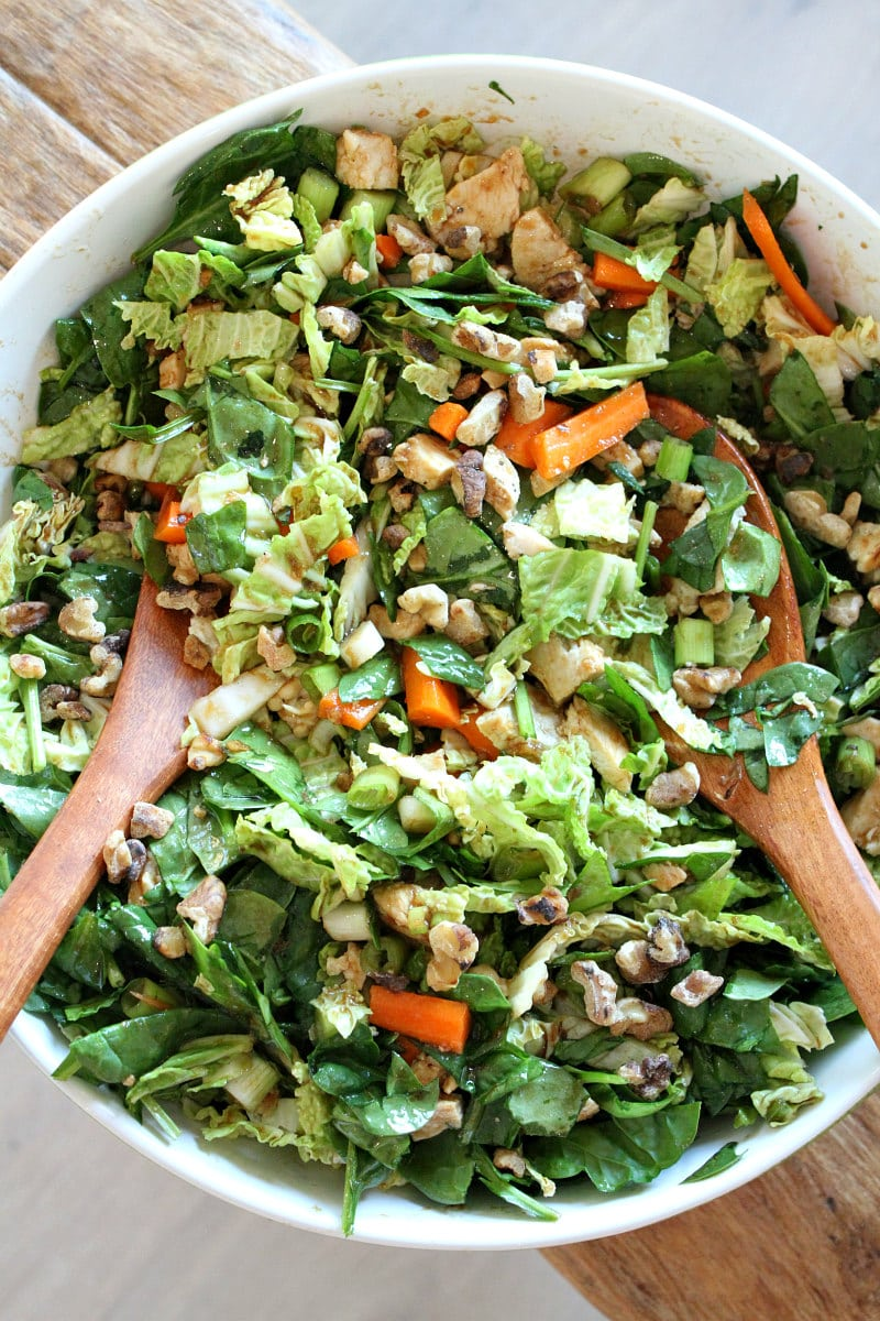 Tossing Chinese Chicken and Walnut Salad