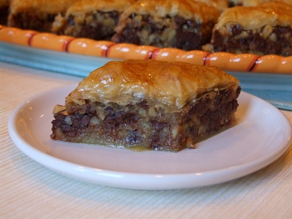slice of chocolate baklava