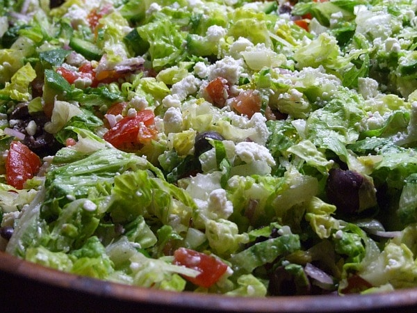 Greek Salad:  Chopped Vegetable Salad with Feta and Olives