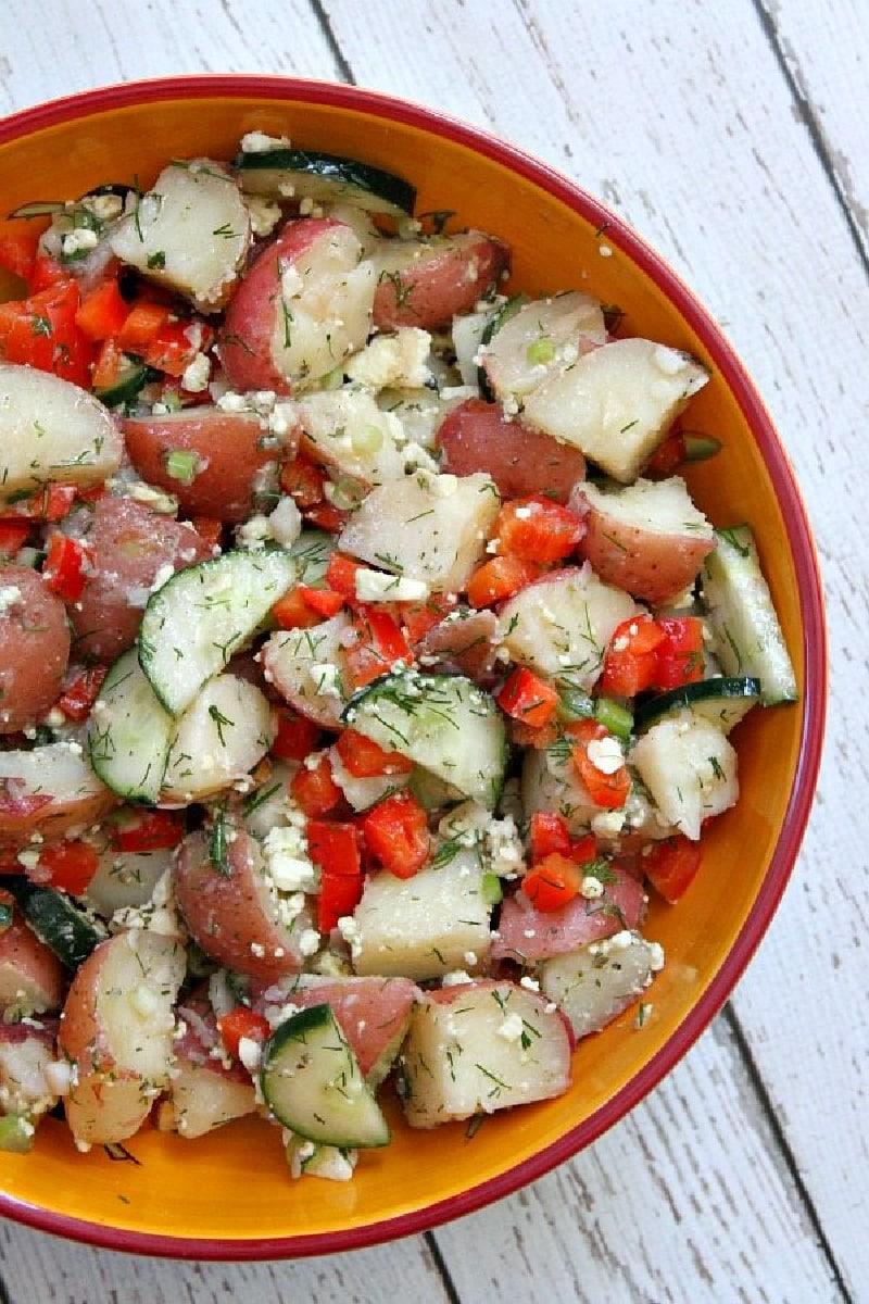 bowl of dill potato salad