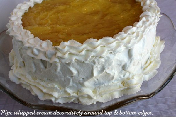 lemon truffle cake with whipped cream
