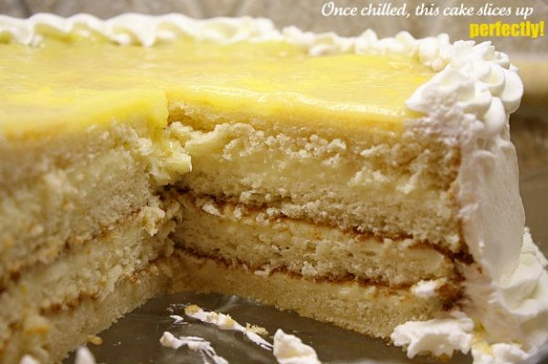 lemon truffle cake sliced into