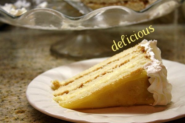 lemon truffle cake slice