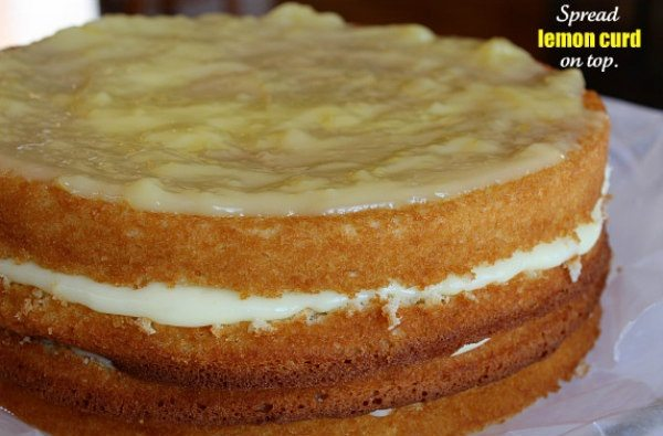 lemon truffle cake with lemon curd topping