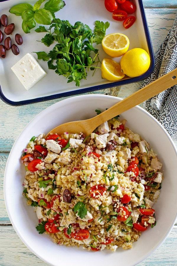Greek Bulgur Salad With Chicken Recipe Girl