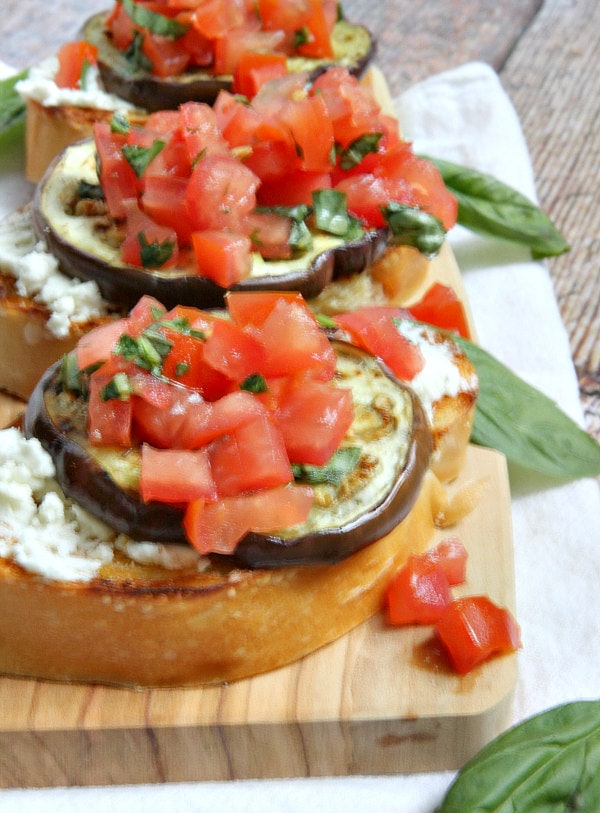 Grilled Eggplant, Tomato and Goat Cheese Sandwiches