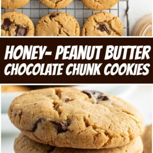 pinterest collage image for honey peanut butter chocolate chunk cookies