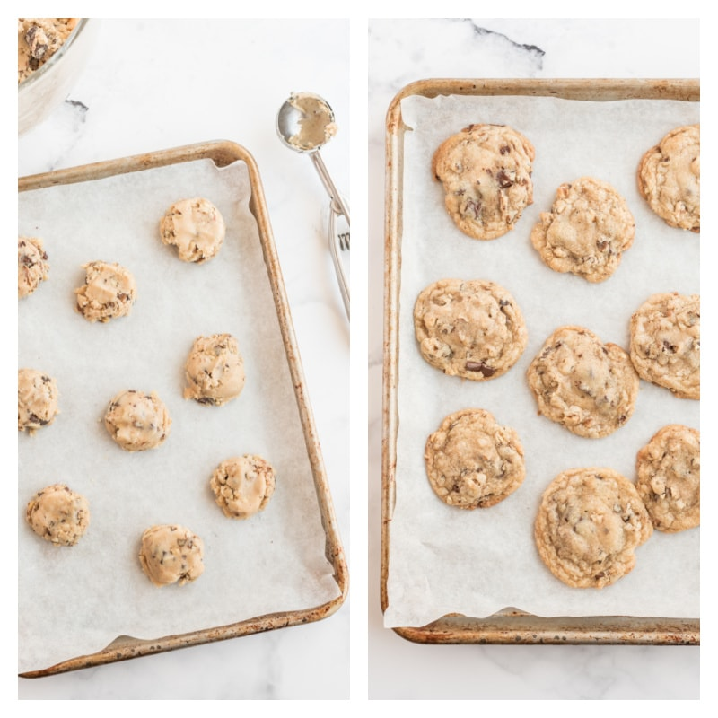 cookie sheets showing cookie dough and then baked cookies