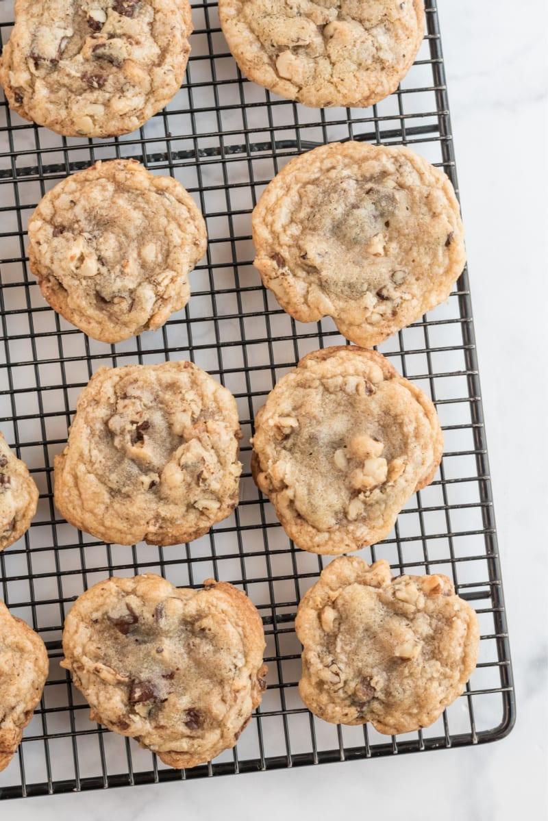 ina garten's chocolate chunk cookies on cooling rack