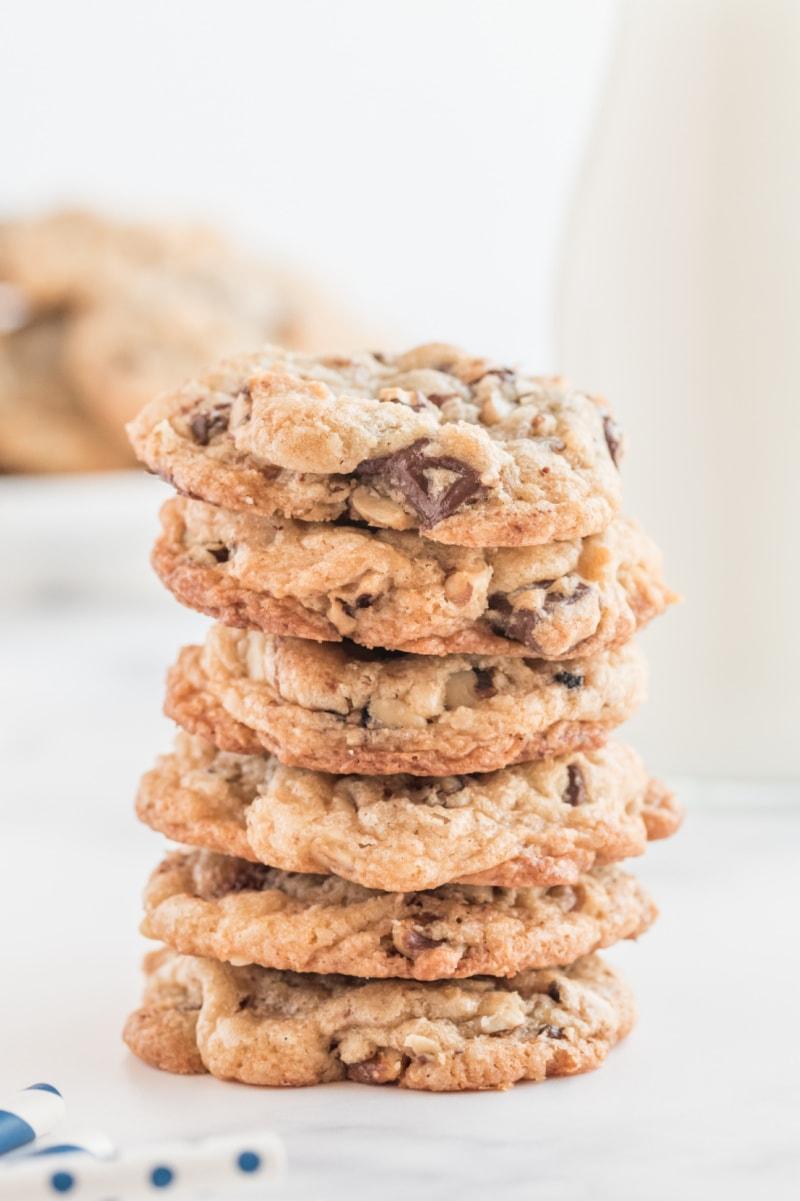 ina garten's chocolate chunk cookies in stack