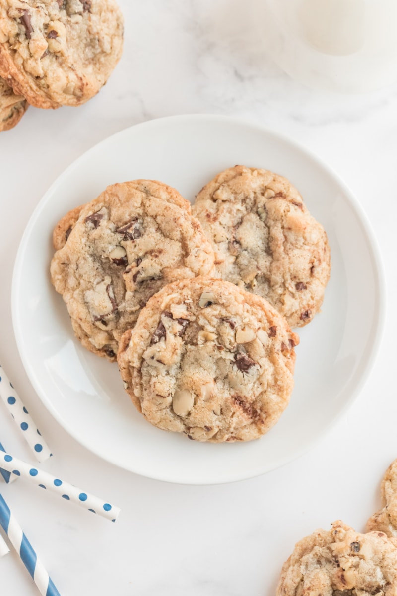 ina garten's chocolate chunk cookies on a white plate