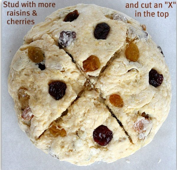 breakfast irish soda bread with raisins and cherries