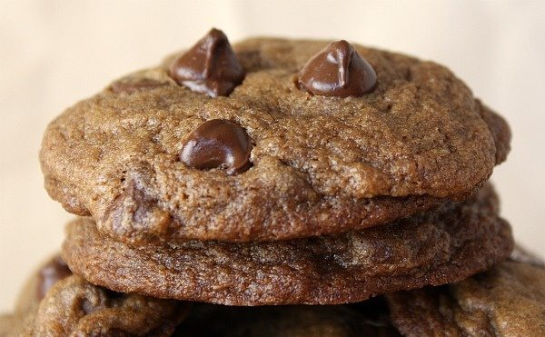 Kahlua Espresso Chocolate Chip Cookies in a stack