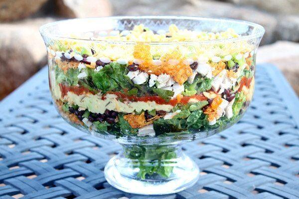 Layered Nacho Salad recipe - by RecipeGirl.com
