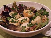 Lemon Shallot Scallops over Greens