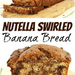 pinterest collage image for nutella swirled banana bread
