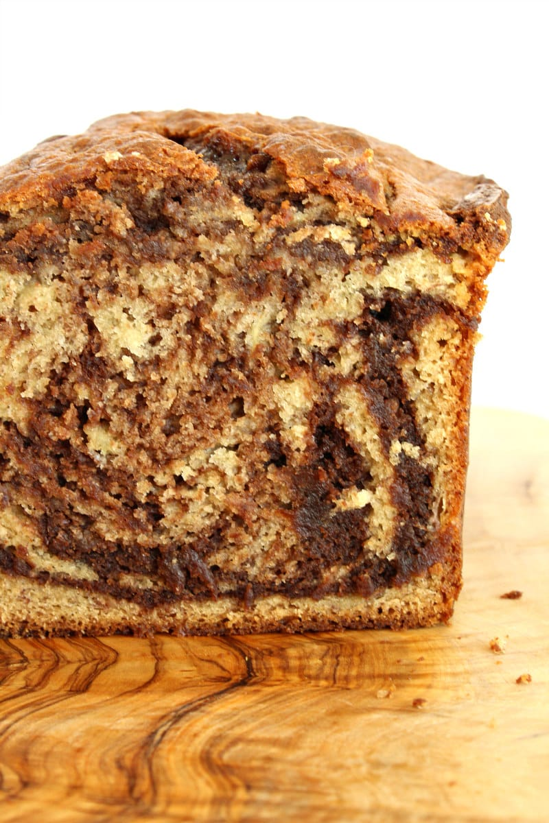 close up looking at the inside of nutella banana bread