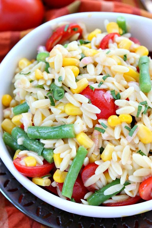 Orzo Salad with Corn, Green Beans and Tomatoes - from RecipeGirl.com