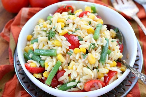 Orzo Salad with Corn Green Beans and Tomatoes