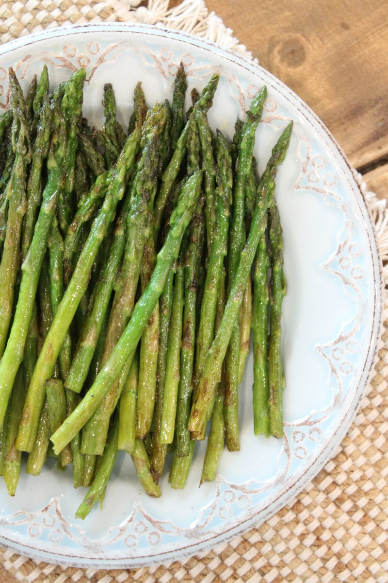 Pan Roasted Asparagus on a serving plate