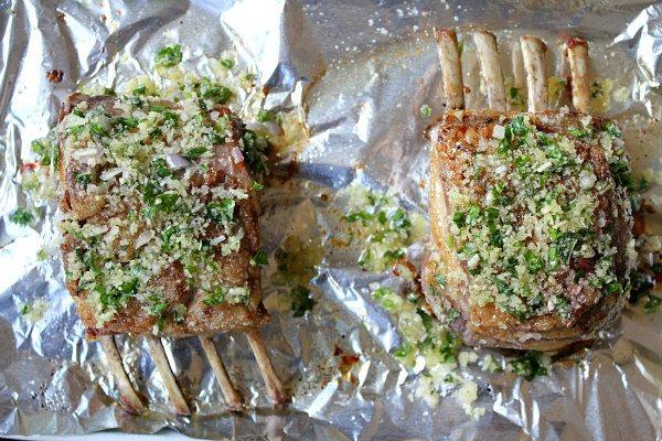 Adding seasoned panko to rack of lamb