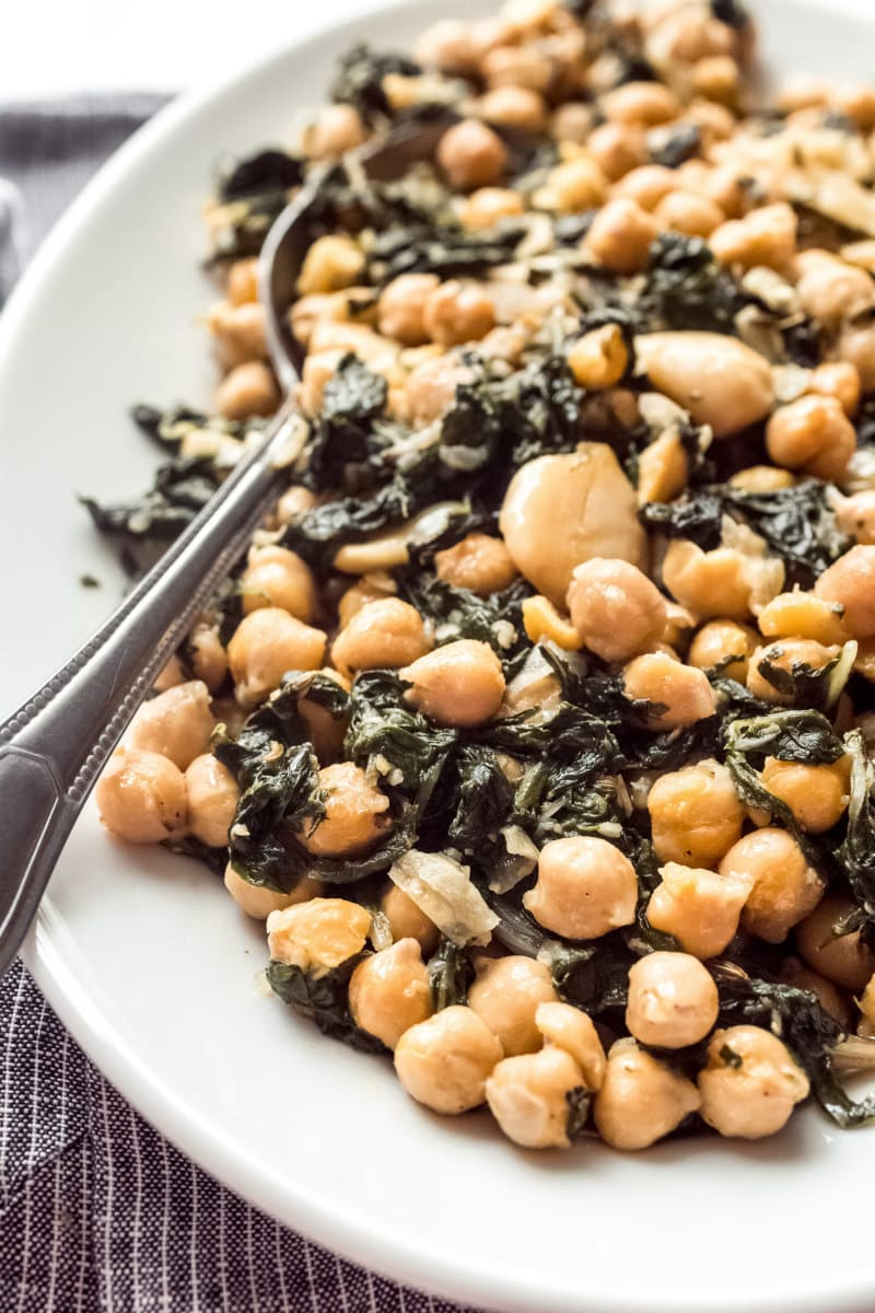 Roasted Garbanzo Beans with garlic and swiss chard ready to serve
