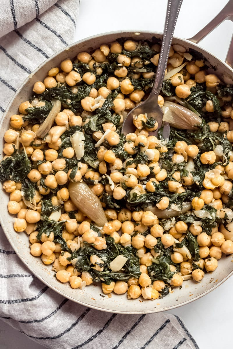 Roasted Garbanzo Beans with Garlic and Swiss Chard