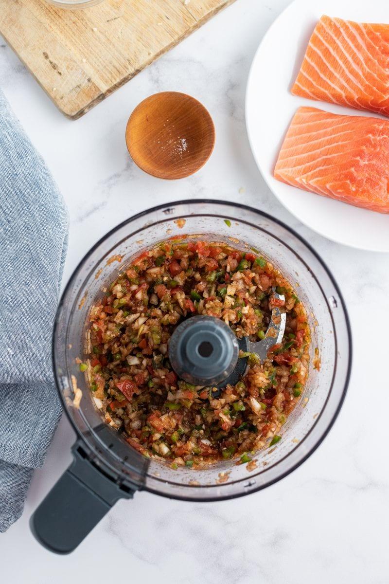 homemade salsa in food processor