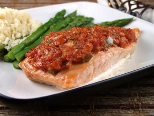 Salsa Roasted Salmon recipe - from RecipeGirl.com