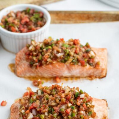 salsa roasted salmon on baking sheet