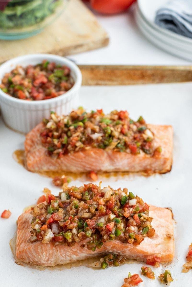 salsa roasted salmon on baking sheet
