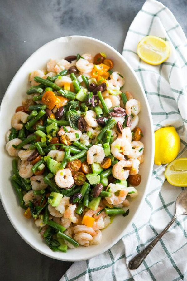 bowl of shrimp and vegetable salad